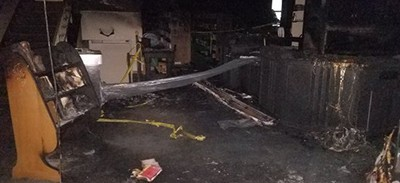 Fire and smoke damage at Eckhart Public Library