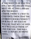 Elaborate excuse for library books returned late, by Pinterest user Todd Lamb