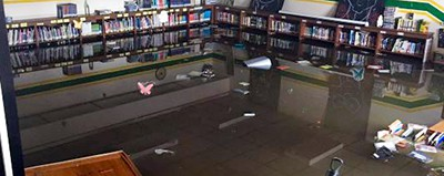 Flooding ruined the WJ Murphy Elementary School library in north suburban Round Lake. Photo via Sam Yingling FB page