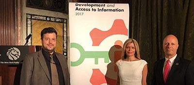 ALA President Elect Loida Garcia-Febo (center) with the director of the United Nations Library, Thanos Giannakopoulos (left) and the acting under-secretary general for global communications Maher Nasser at the Development and Access to Information report launch