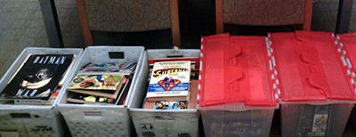 Some of the comic books donated to the Watkinson Library
