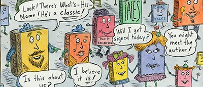 Segment of National Book Festival poster by Roz Chast