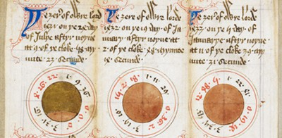 Diagrams of solar eclipses: British Library Harley MS 937, f. 8r