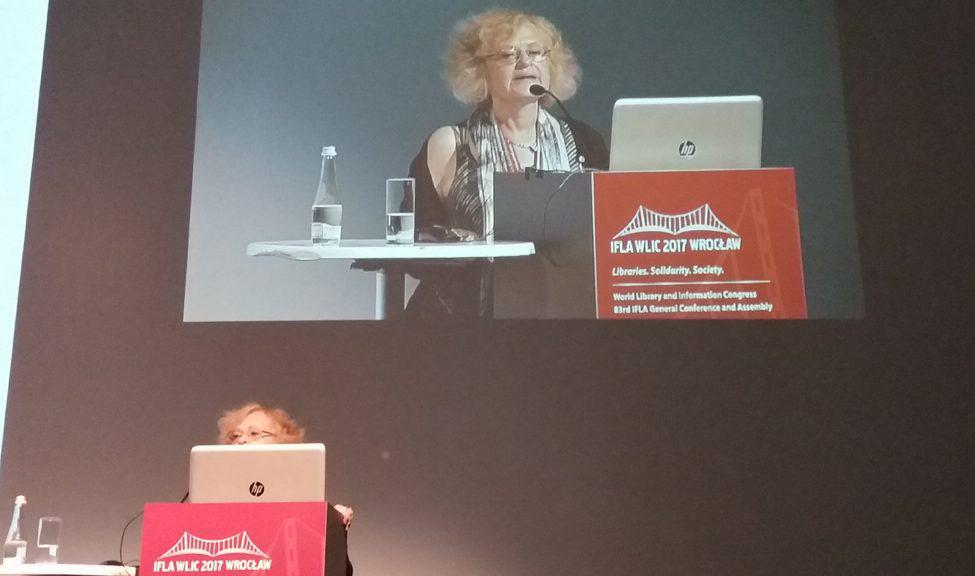 Plenary session speaker Ewa Bartnik, biologist and researcher at University of Warsaw.