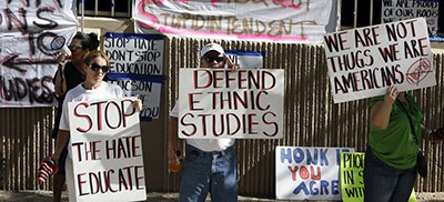 Protesters are seen in June 2011 in support of the Tucson Unified School District's Mexican-American studies program. A new state law effectively ended the program saying it was divisive