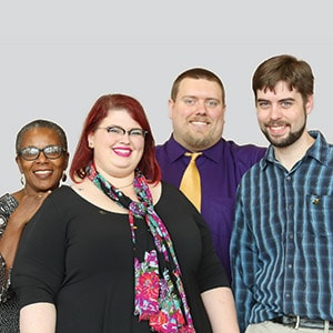 From left: Akilah S. Nosakhere, director; Rebecca Parker, technology coordinator; Dan Allen, digital mentor; and Stuart Cotton, creative digital mentor