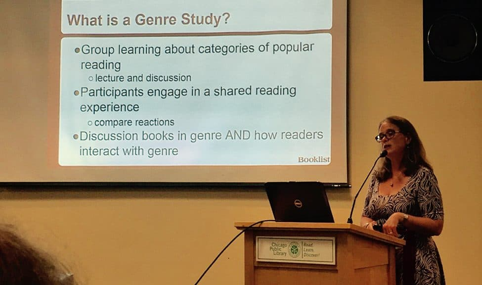 """Becky Spratford, readers' advisory specialist and founder of RA for All, presenting at """"How to Stay in Top Genre Shape."""""""