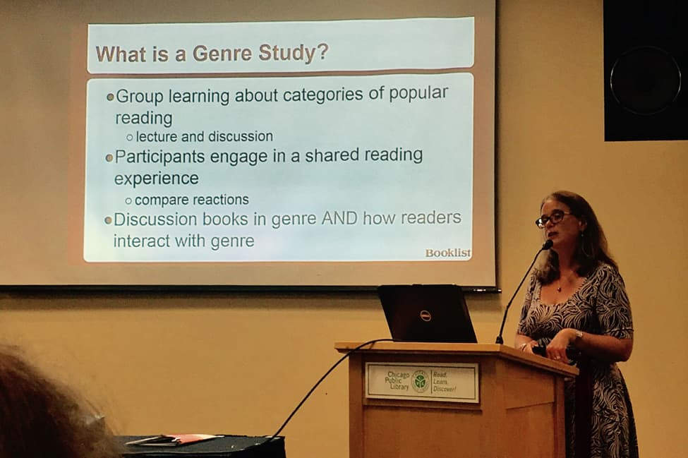"Becky Spratford, readers' advisory specialist and founder of RA for All, presenting at ""How to Stay in Top Genre Shape."""