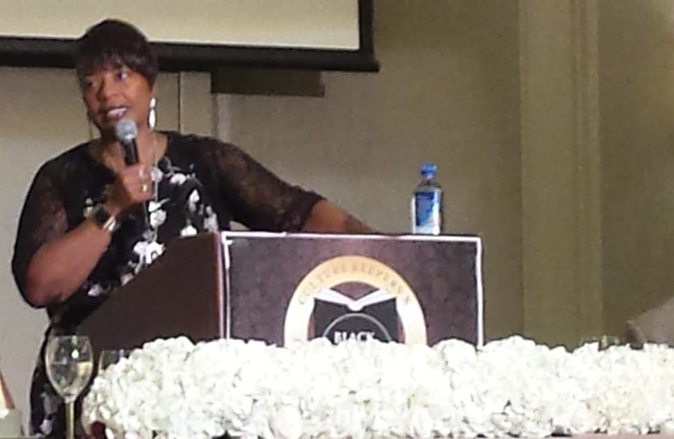 Bernice King speaks at the closing session of the National Conference of African American Librarians in Atlanta August 13.