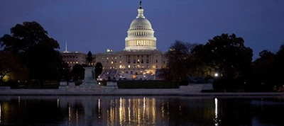 The US Capitol building at night