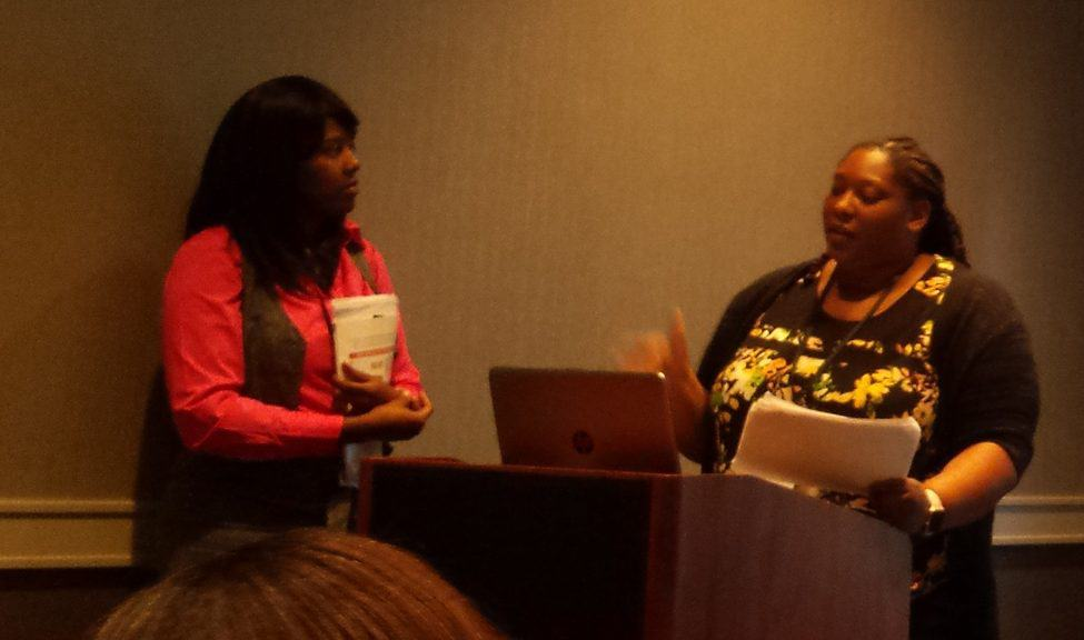 Chicago Public Library Reference Librarian Lawanda Miller (left) and Archivist Tracy Drake at the National Conference of African American Librarians in Atlanta August 12.