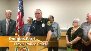 City of Clovis (N.Mex.) Police Chief Douglas Ford speaks at a news conference August 28 regarding the shooting at Clovis-Carver Public Library that killed two librarians and injured four others. (Image: Reuters)