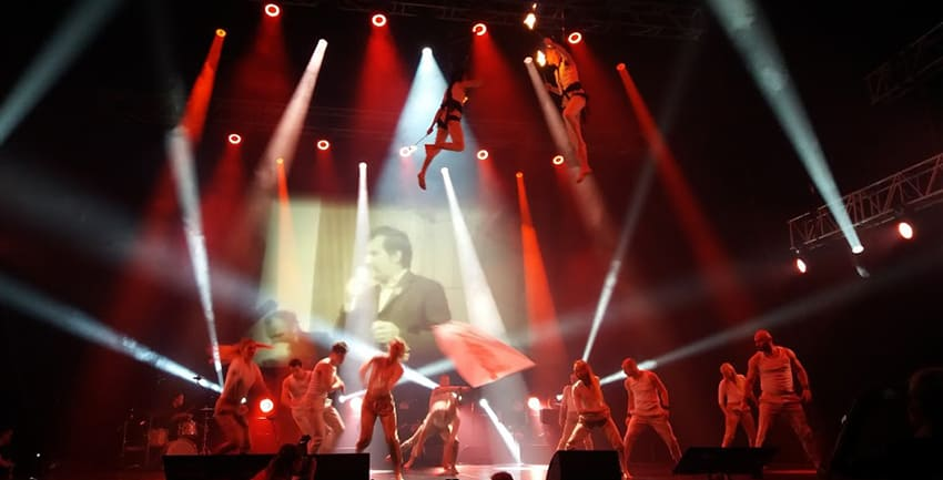 Dancers and musicians offer an artistic representation of the Solidarnosc social movement of 1980s Poland that worked to advance workers' rights and oppose martial law.