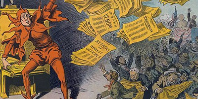 Art by Louis M. Glackens: The Yellow Press, showing William Randolph Hearst as a jester handing out newspapers, published by Keppler & Schwarzmann, October 12, 1910
