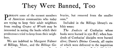 Article from ALA Bulletin, March 1940