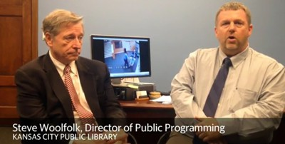 Kansas City Public Library Executive Director R. Crosby Kemper (left) and Director of Programming and Marketing Steven Woolfolk. Screenshot from Kansas City Star interview.