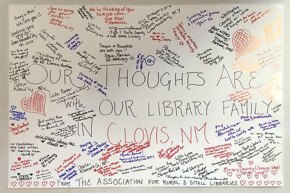 ARSL attendees send condolences to Clovis-Carver Public Library in Clovis, New Mexico, where two library workers were killed on August 28 when a gunman opened fire in the library.