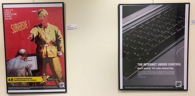 Two of the posters on press freedom that were removed from the Boyden Public Library. Photo by Mark Stockwell, Sun Chronicle