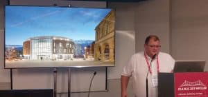 """Steve Dickson, senior director at FaulknerBrowns Architects, showcases the National Centre for the Written Word in South Shields, UK, at """"Public Libraries as Place Makers in Today's Cities: Urban Development, Resiliency, and Social Equity in Metropolitan Libraries."""""""