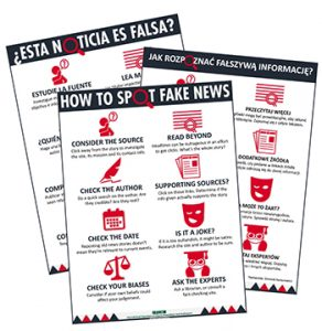 """How to Spot Fake News"" poster published by IFLA in several languages."