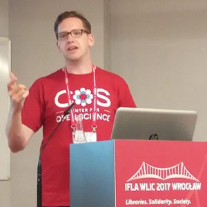 """Chris Hartgerink, PhD candidate at Tilburg University in the Netherlands, at the """"Being Open About Open: Academic and Research Libraries, FAIFE, Copyright, and Other Legal Matters"""" session."""