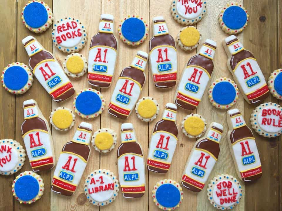 A1-themed cookies that Shea Alltmont baked for Avon Lake Public Library staffers in June. Alltmont reassured Dewey Decibel that A1 Sauce was not actually used in the recipe. Photo: Courtesy of Avon Lake Public Library