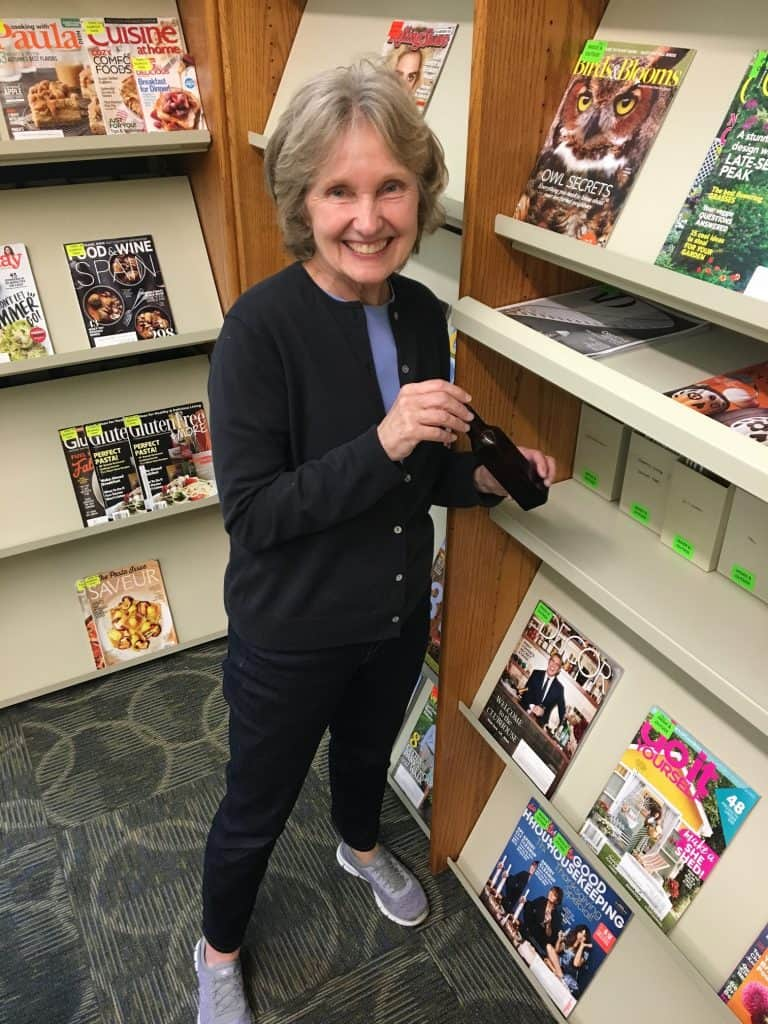 Avon Lake Public Library page Colleetta DeChant found bottle #15 in the Magazines section. Photo: Courtesy of Avon Lake Public Library
