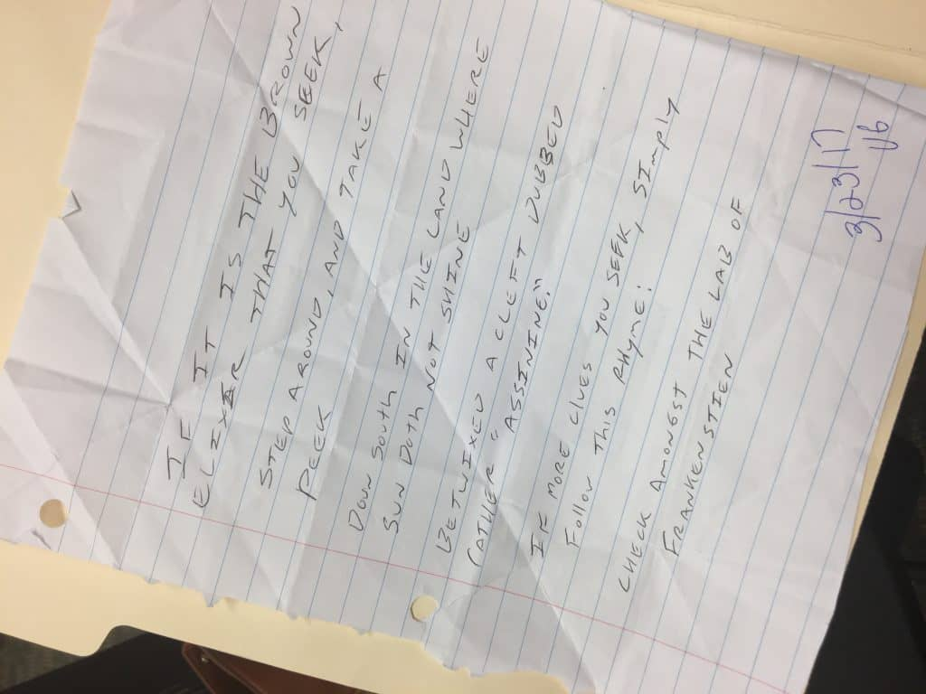 A photograph of the handwritten poem that Vicki George found on March 23. The poem is suspected to have been written by a copycat because it didn't fit the pattern of the other bottles. Photo: Courtesy of Avon Lake Public Library