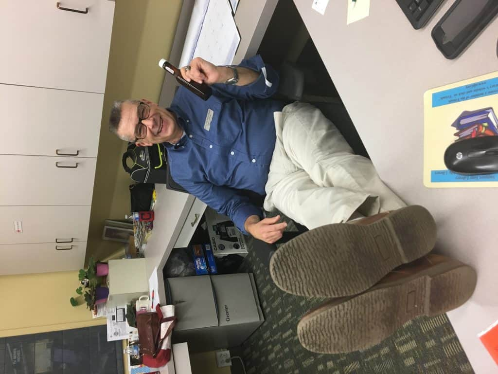 Dan Cotton, page supervisor at Avon Lake Public Library, found the very first bottle on January 11. Cotton has kept extensive notes on the case. Photo: Courtesy of Avon Lake Public Library
