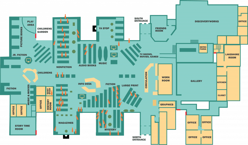 Avon Lake Public Library created this floor plan graphic indicating where A1 Sauce bottles were found in the library. A total of 55 bottles were retrieved between January and August, plus two suspected copycat bottles. Image: Courtesy of Avon Lake Public Library