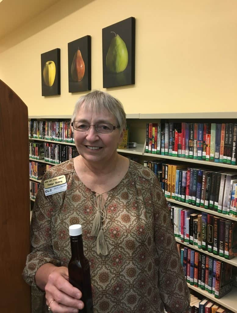 Librarian Nadge Herceg found her bottle in the Book Discussion section of Avon Lake Public Library. Photo: Courtesy of Avon Lake Public Library