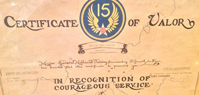 Certificate of valor for Captain Milton R. Brooks, who served with the 302nd Fighter Squadron
