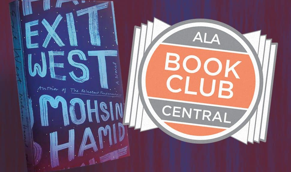 Cover of Exit West by Mohsin Hamid and Book Club Central logo