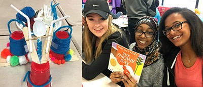 "An Ezra Jack Keats Mini-Grant made it possible for a teaching team at Crestview Middle School in Ellisville, Missouri, to buy supplies for a ""novel engineering"" program based on Keats's The Snowy Day. Students were asked to read the book, identify a challenge faced by Peter, the main character, and find a solution using their STEM skills. Pictured are three members of the winning team (R) and their ""solution"" (L)—a dual-purpose invention called ""Snow Shoes and Snowball Slingshot."""