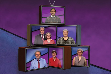 Clockwise from top: Ben Almoite, Jennifer Hills, Gretchen Neidhardt, Margaret Miles, Ken Hirsh, and Sarah Trowbridge with Jeopardy! host Alex Trebek.
