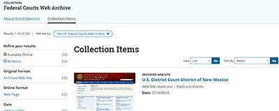 Federal Courts Web Archive display