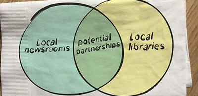 Local newsrooms and local libraries. Illustration by Kerry Conboy