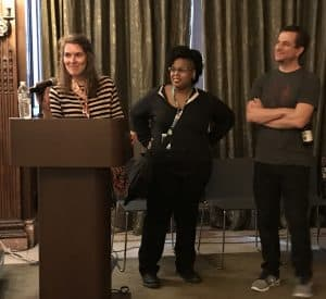 From left: Creators for Creators grant recipient M. Dean with C. Spike Trotman and Nick Dragotta.