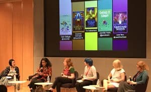 "Members of the ""Hot Off the Press in Children's Books"" panel, from left: Candice Mack (Los Angeles Public Library), Sayantani DasGupta, Laura Terry, Gale Galligan, Jennifer L. Holm, and Tui T. Sutherland."