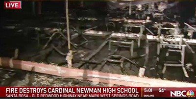 Destroyed classroom at Cardinal Newman High School in Santa Rosa, California
