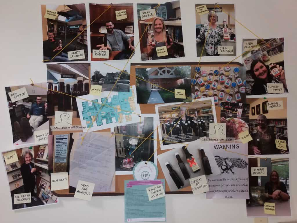 """The """"A1 Mystery of Avon Lake"""" made quite an impression on Dewey Decibel correspondent Terra Dankowski. When she got back to American Library Association headquarters in Chicago, she constructed this board of suspects and evidence. Photo: Terra Dankowski/American Libraries"""