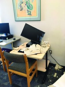 Flood-damaged computer at the Harris County (Tex.) Public Library's Barbara Bush branch in Spring. Photo: Harris County (Tex.) Public Library