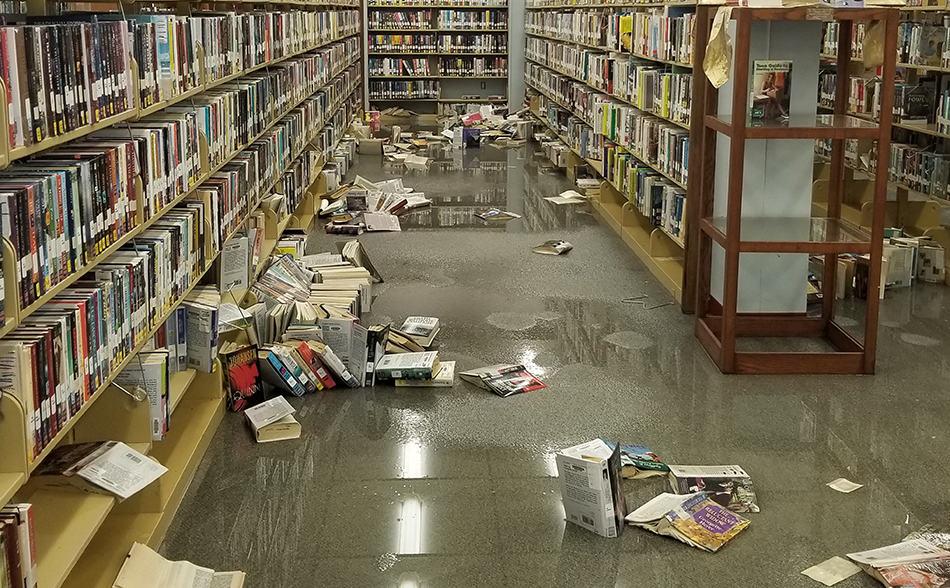 Flooded stacks of the Port Arthur (Tex.) Public Library. Photo: Port Arthur (Tex.) Public Library