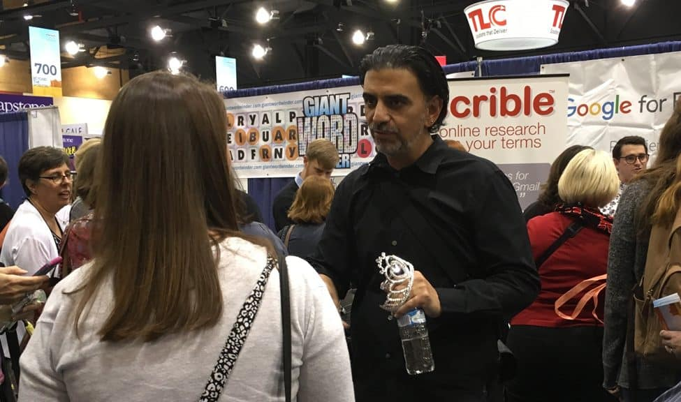 Jaime Casap, chief education evangelist at Google, talks to librarians in the exhibit hall after his keynote talk on the first day of the 2017 AASL National Conference and Exhibition in Phoenix.