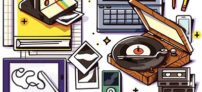 Analog and digital tech. Illustration by Jackie Ferrantino