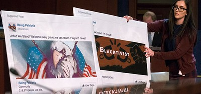Graphics of Facebook pages were displayed at a hearing on Capitol Hill about Russia's interference in the election. Photo by Shawn Thew / European Pressphoto Agency