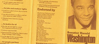 Brochure from Harold Washington's 1977 campaign for Chicago mayor