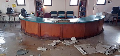 Damage to library at University of Puerto Rico at Humacao