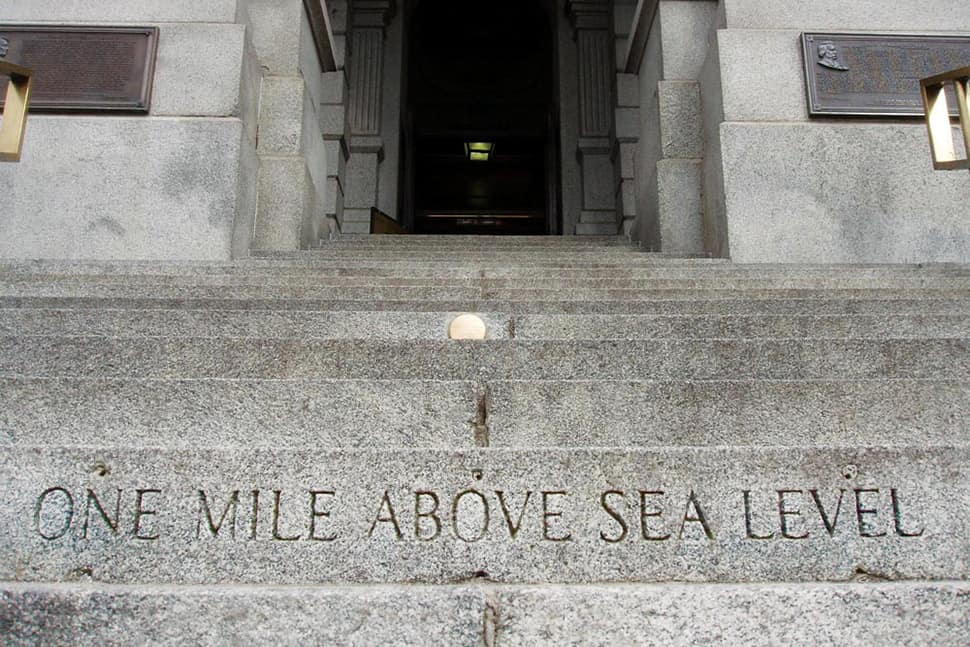 One mile above sea level marker on the Colorado State Capitol Steps.