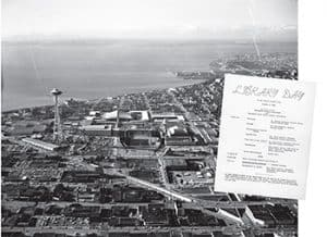 An aerial photo of the Century 21 Exposition in 1962 Seattle. Inset: a Library Day flier. (Photo: Overview of Seattle, City Light Photographic Negatives, Seattle Municipal Archives)